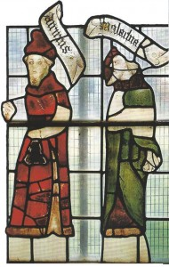 The remains of two 15th century figures of the prophets Habakkuk and Malachi leaded into plain backgrounds